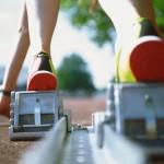 Procrastination Tip- shown by runner on starting blocks