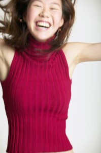 Young woman in an energized mood