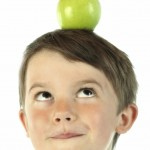 Success Habits shown by boy with green apple on head